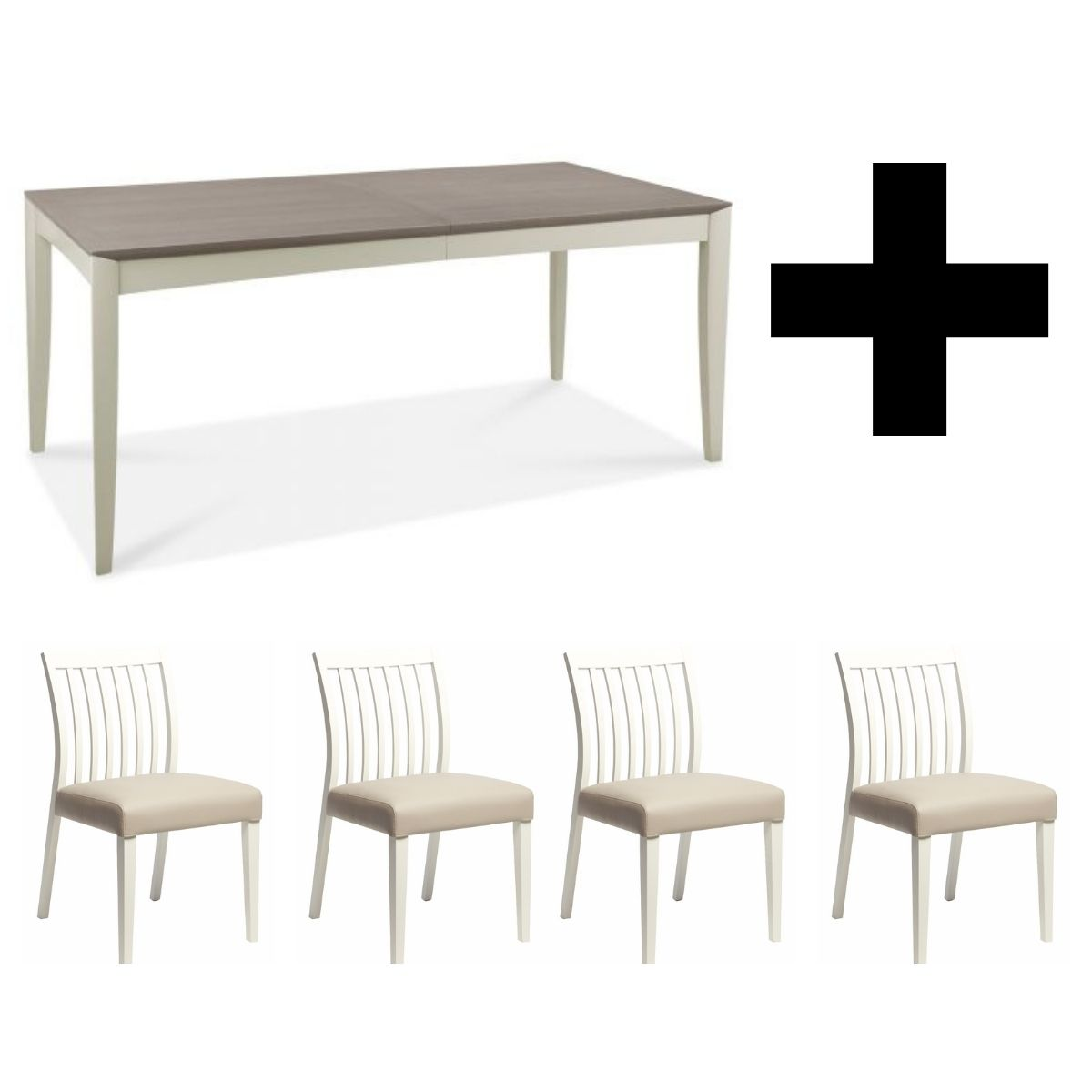 Oakley Grey 6-8 Extending Table (with 4x Low Slat Back Chairs)