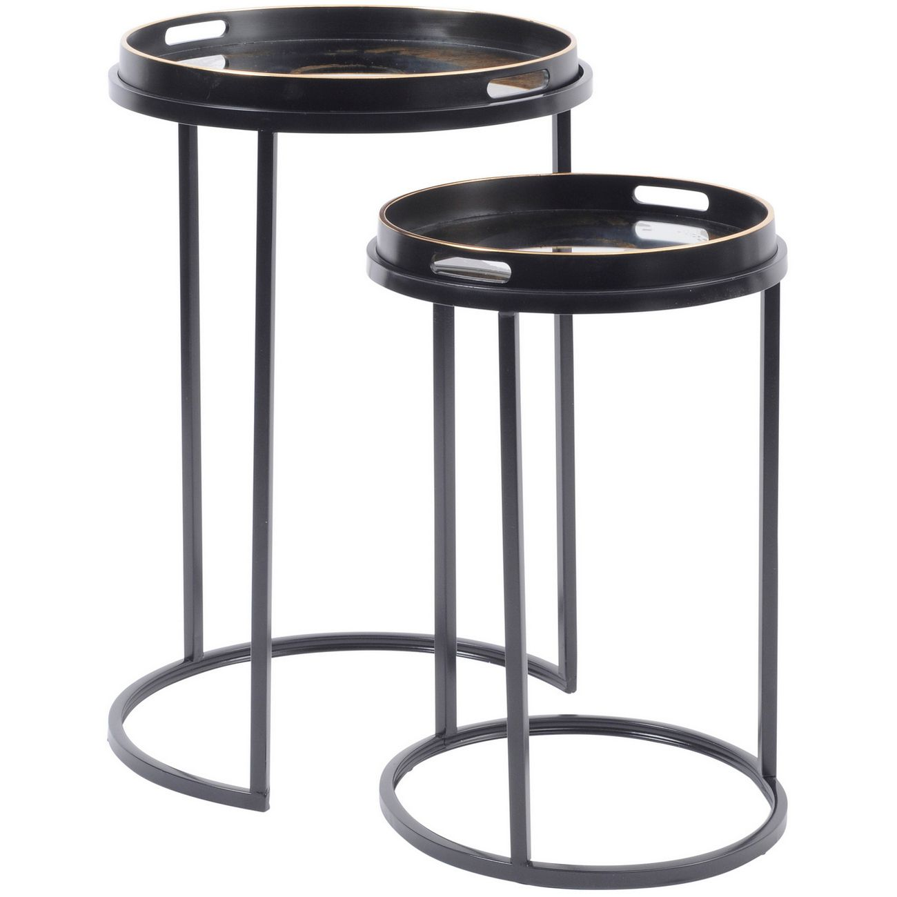 Mirrored Black and Gold Swirl Table Set