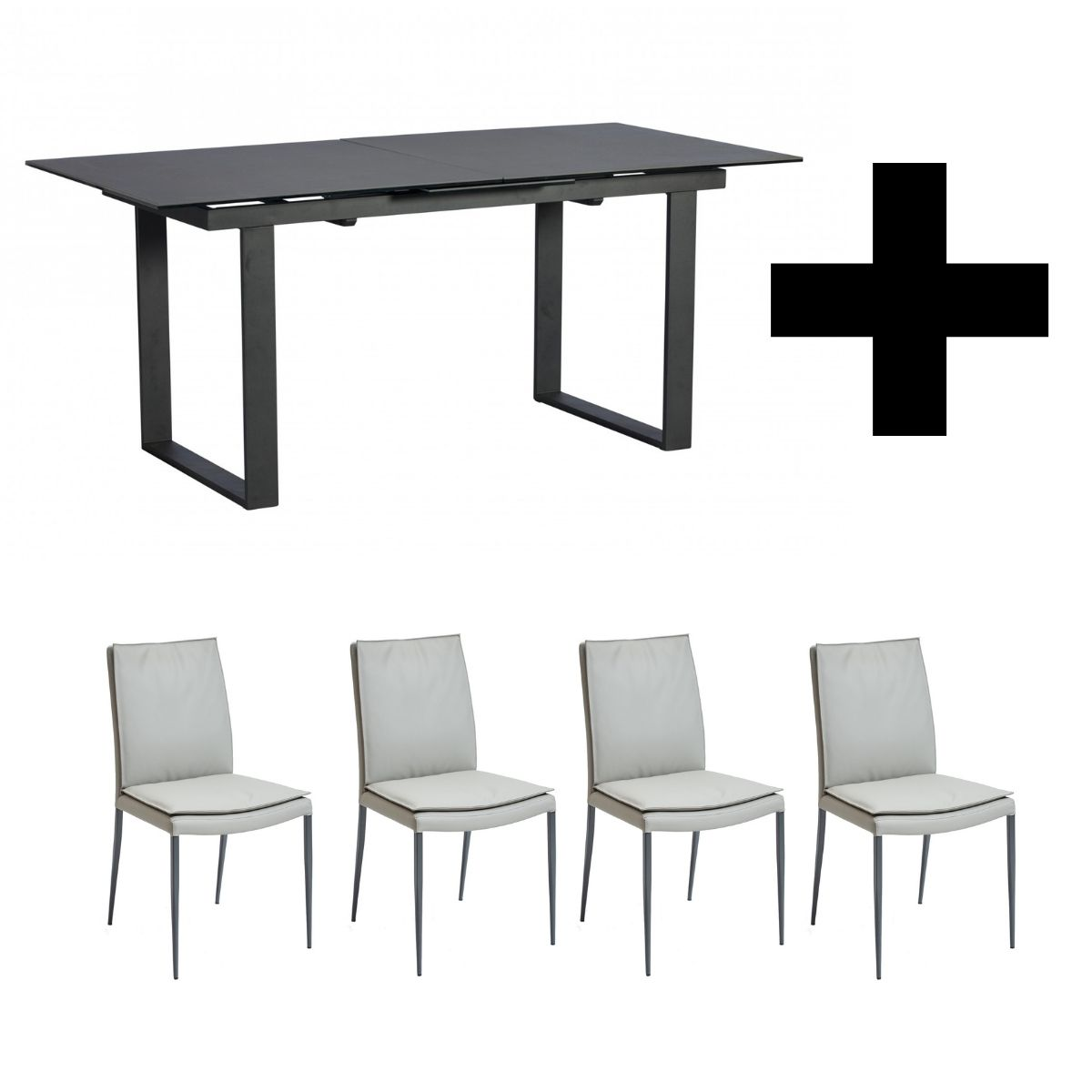 Monterrey Extending Table & 4 Dark Grey Dining Chairs - Bundle Deal