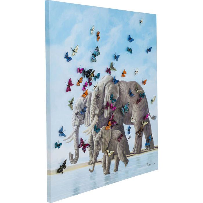Elephants Touched With Butterflys Picture