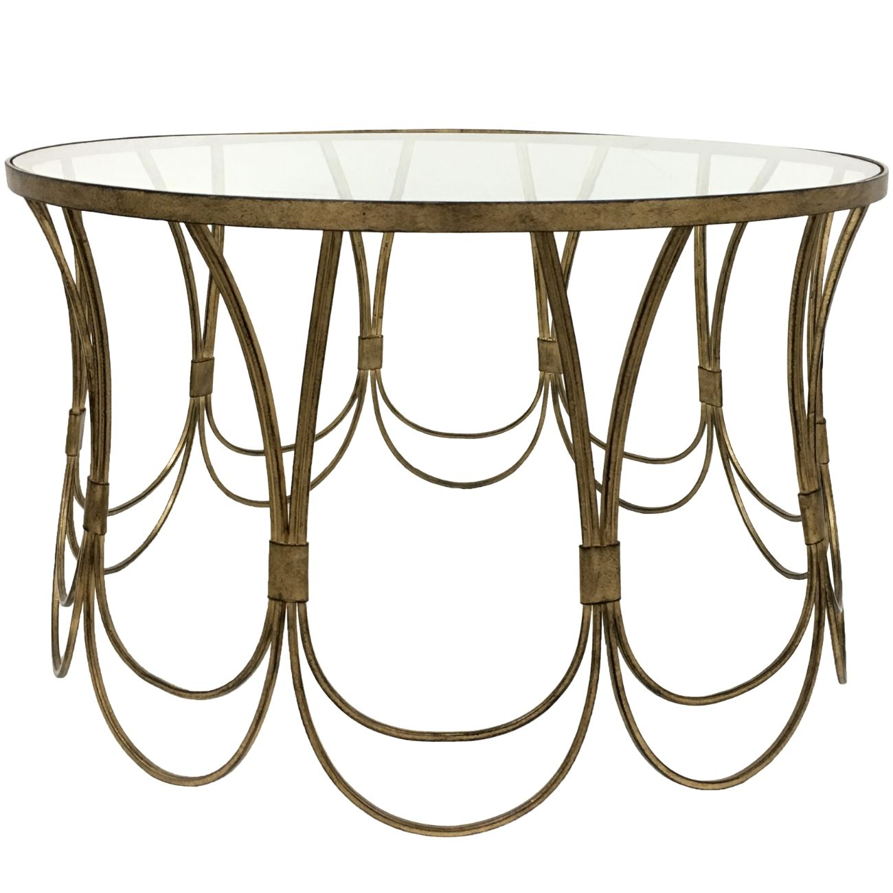Deco Champagne Iron Coffee Table with Scallop Detail