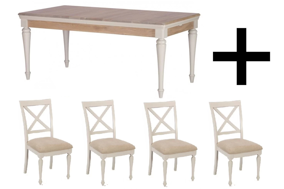 Carlisle 180cm Extending Dining Table and 4 Chairs - Bundle Deal