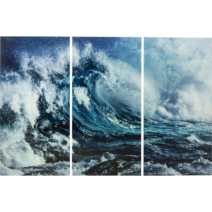 3 Piece Glass Wave Picture