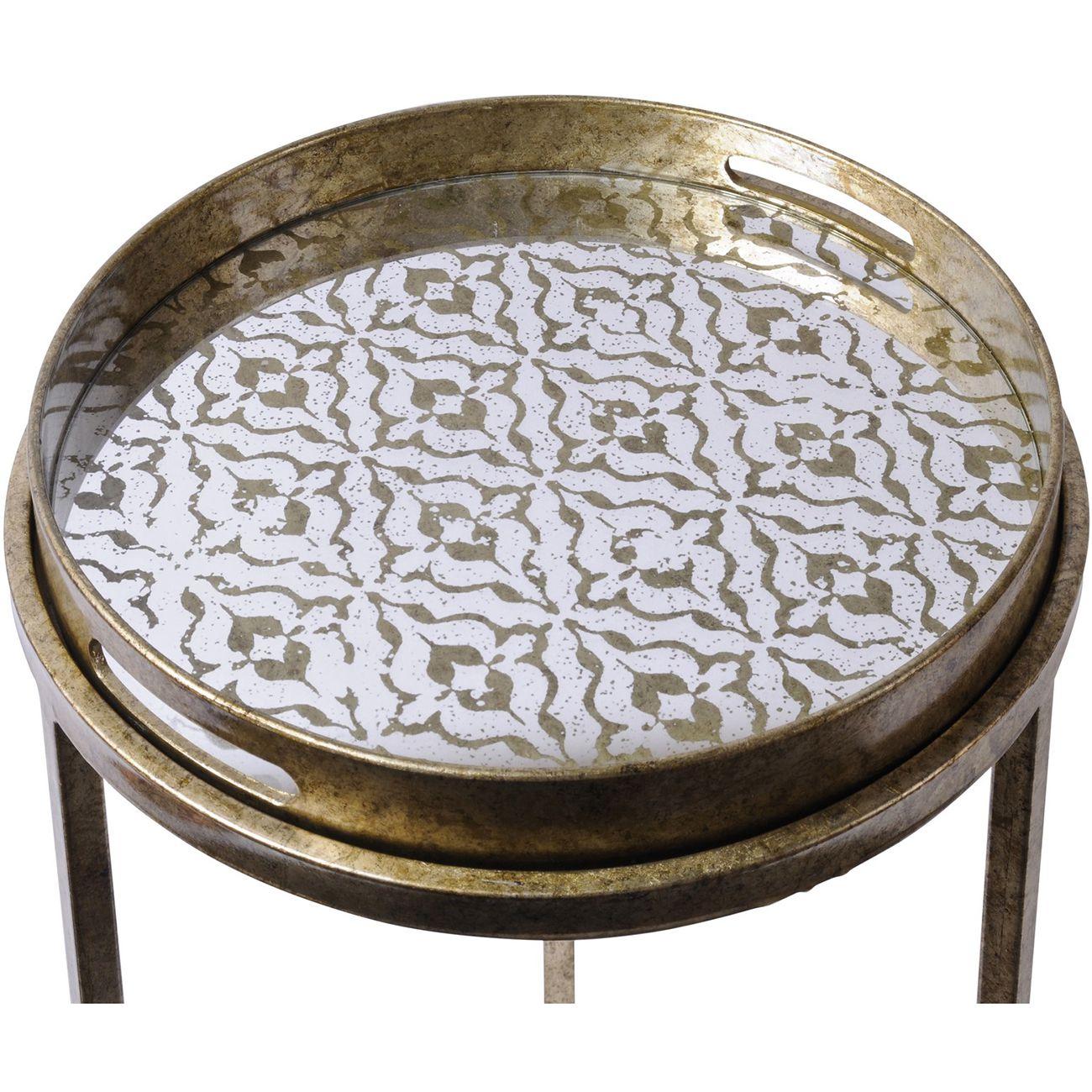 Vienna Antique Gold Diamond Side Table Set
