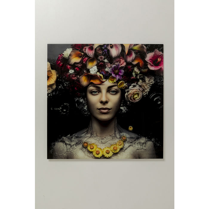 Picture Glass Flower Art Lady