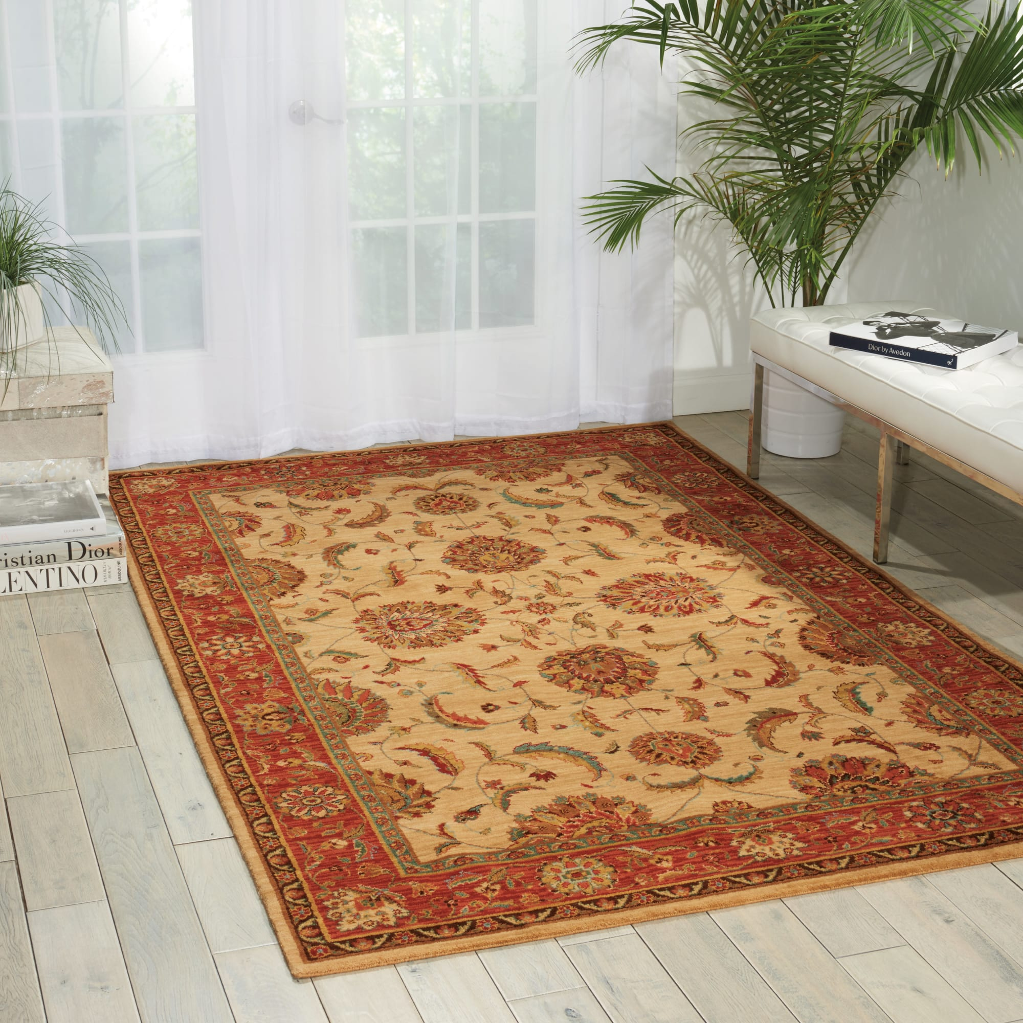 Living Treasures Rug LI04 Ivory/Red