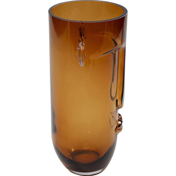 Brown Long Face Vase