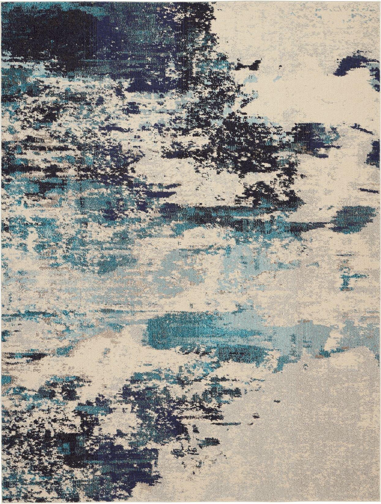 Celestial Rug CES02 Ivory Teal Blue