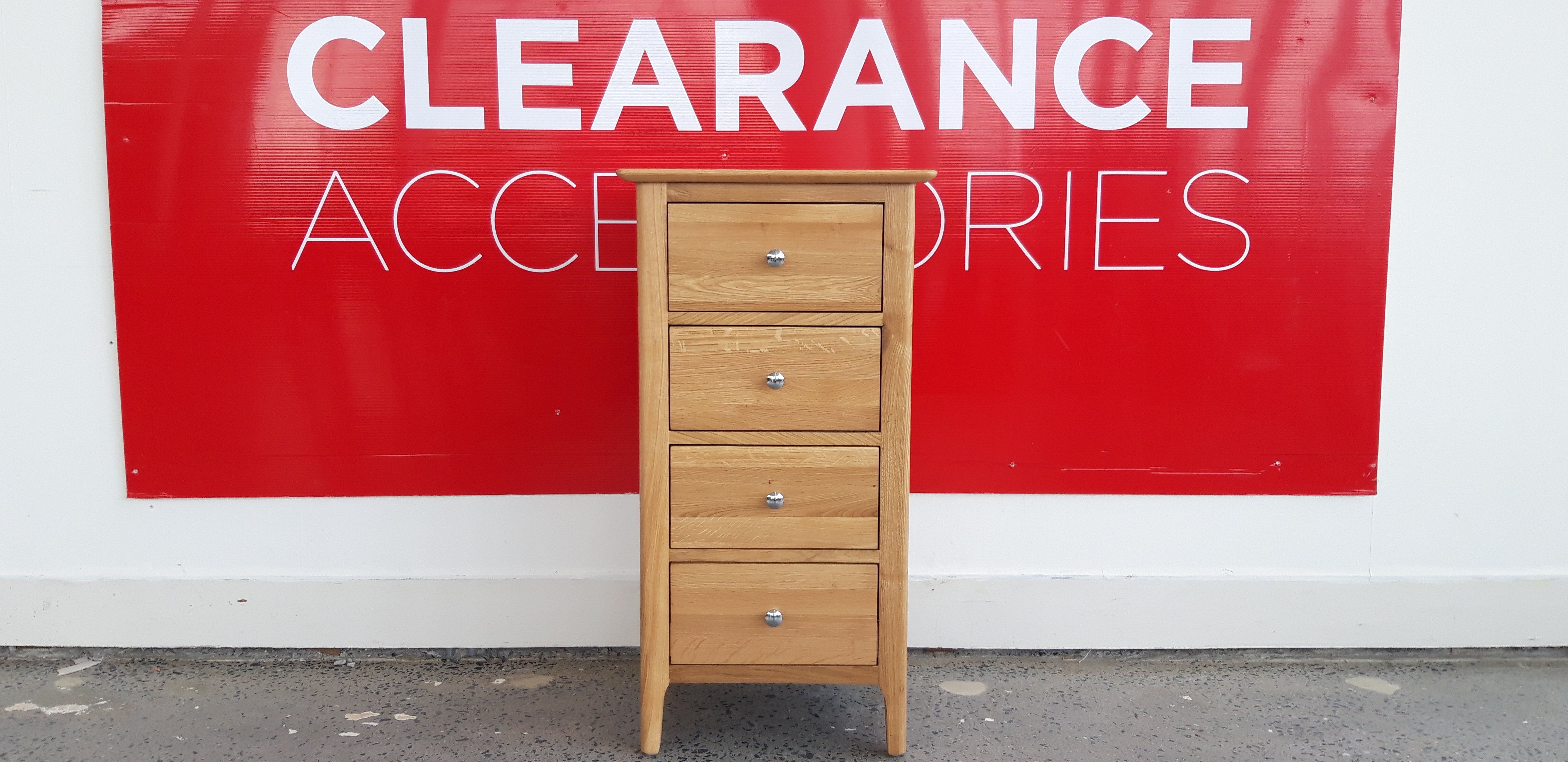Clara 4 Drawer Narrow Chest of Drawers - OUTLET