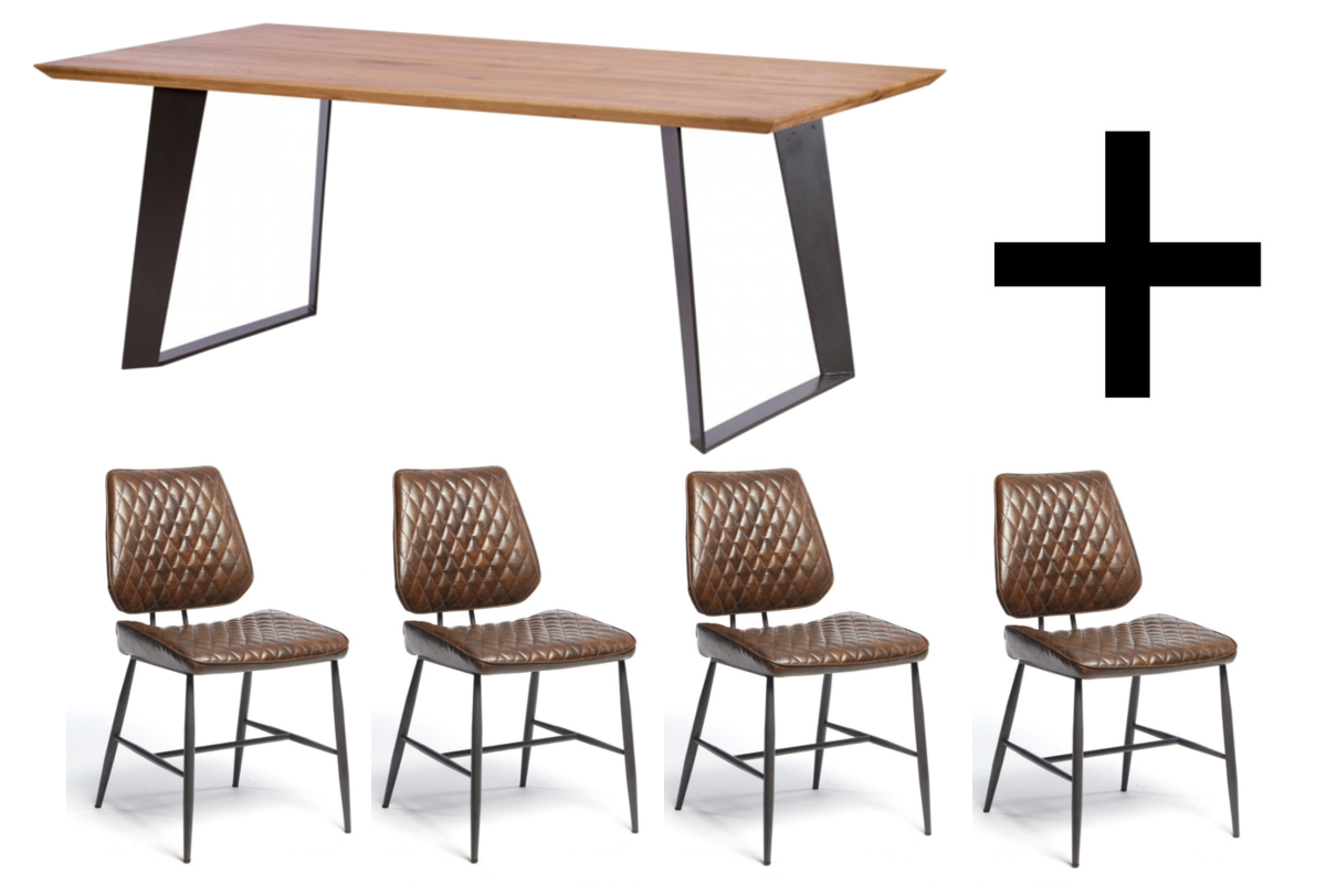 Smithfield 220cm Dining Table and 4 Brown Dalton Chairs - Bundle Deal