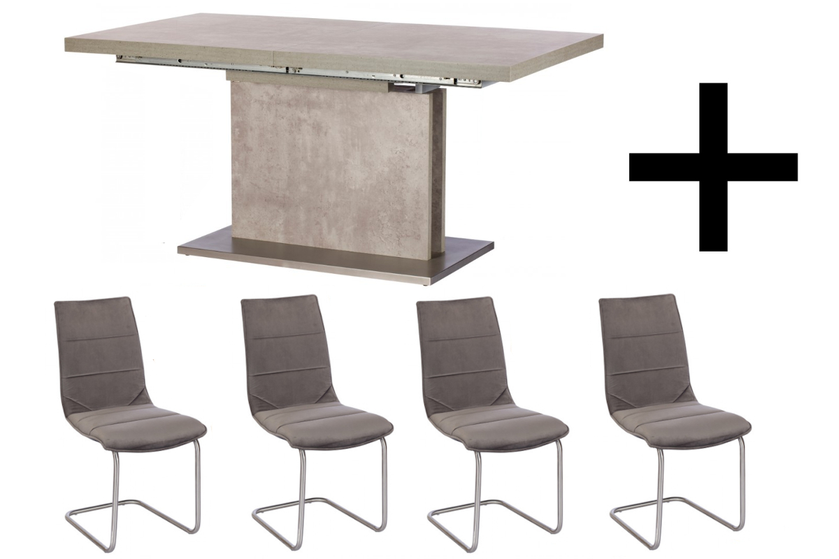 Hornby Extending Dining Table and 4 Marta Chairs - Dining Bundle