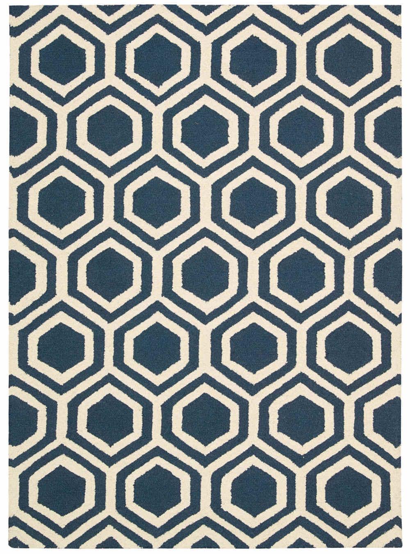 Linear Rug 07 Blue-Ivory