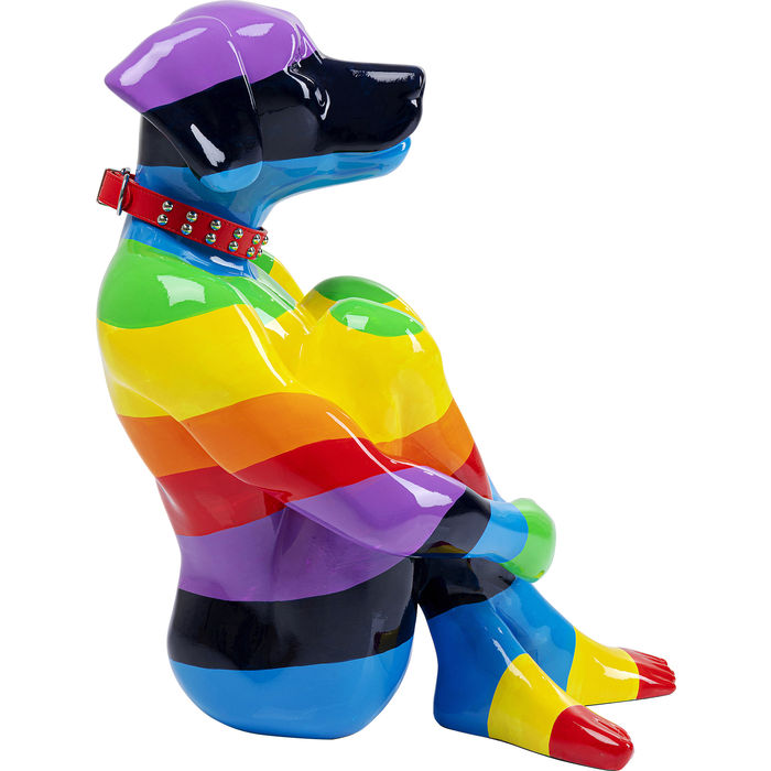 Deco Sitting Dog Rainbow